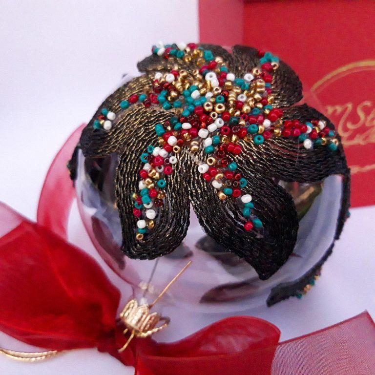 Glob Crăciun cu dantelă neagră, sticlă 10cm