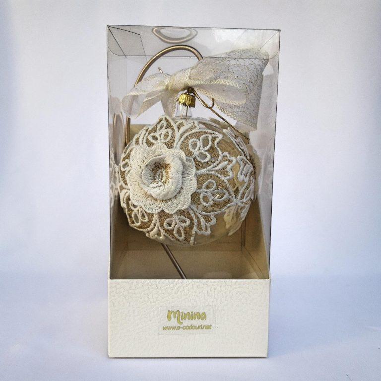 Glob Crăciun dantelă flori 3d, sticlă 10 cm 1