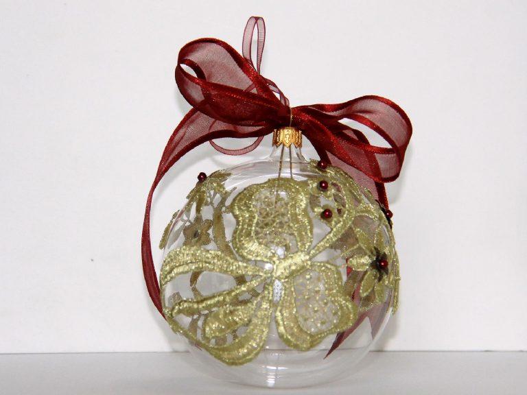 Glob sticlă cu flori dantelă 10 cm