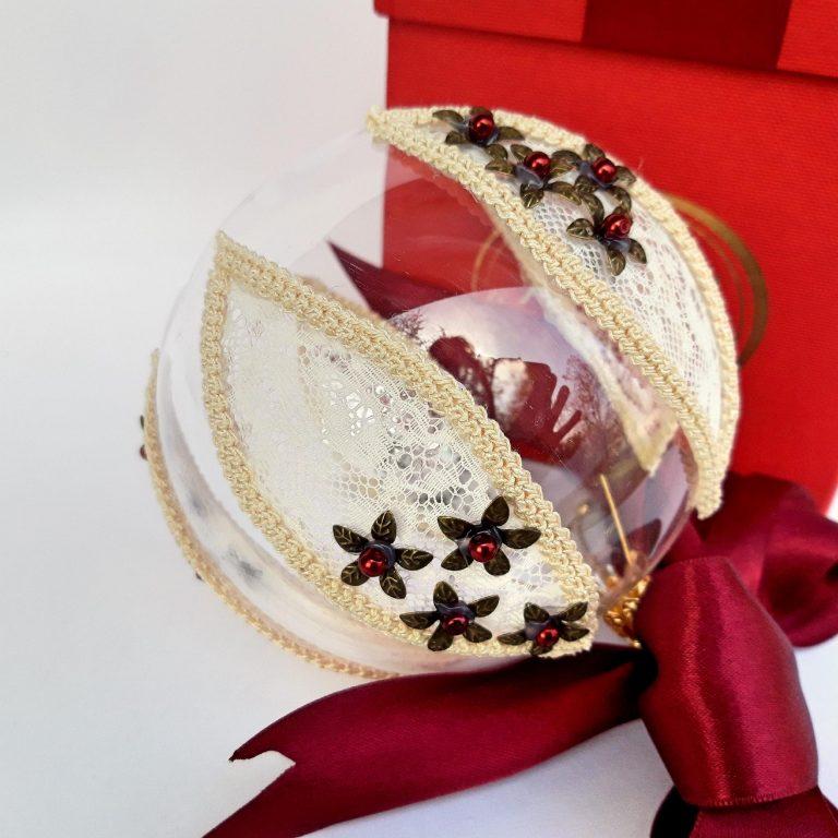 Glob dantelă fină cu şnur macrame 10cm