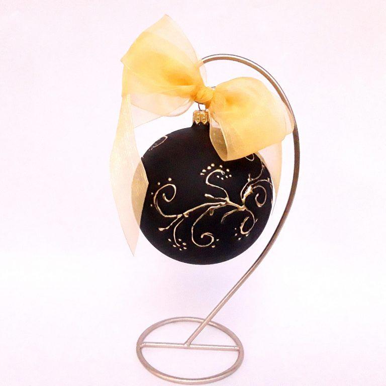 Glob negru cu auriu sticlă 10 cm cu stativ