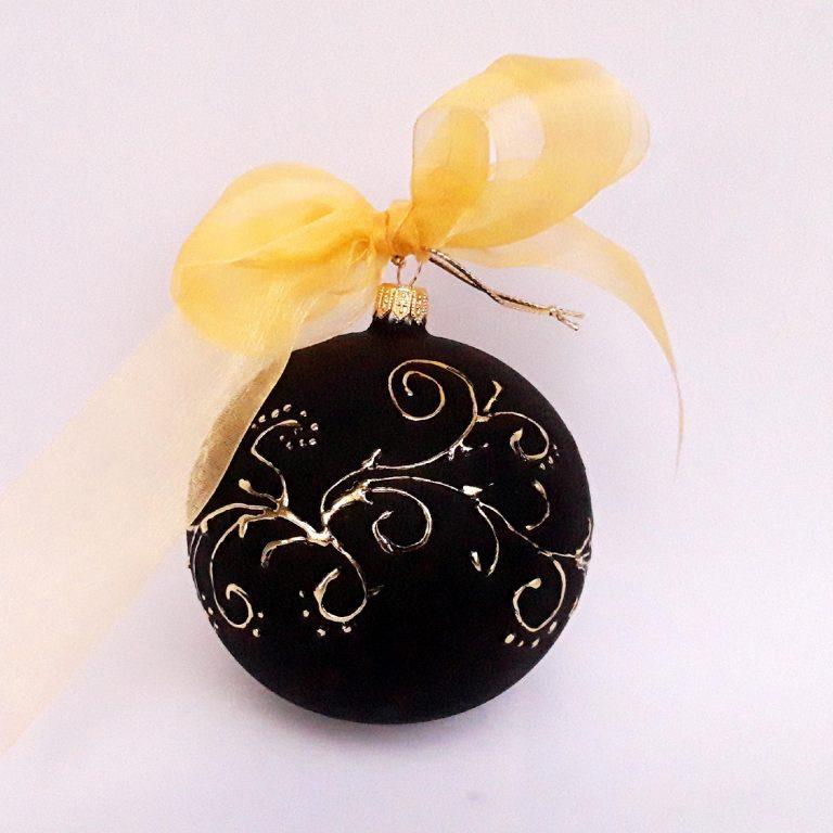 Glob negru cu auriu sticlă 10 cm