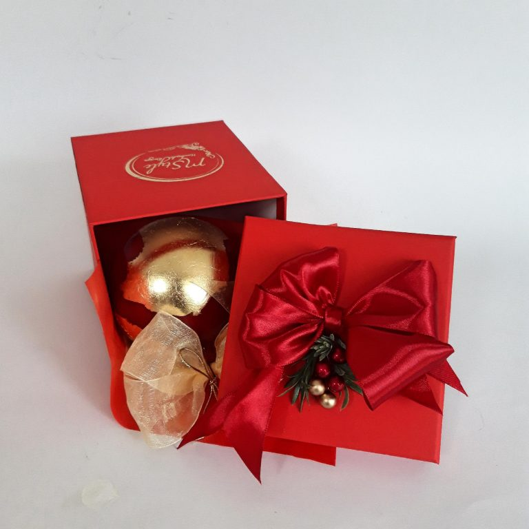 Glob roşu auriu 10 cm in cutie cadou