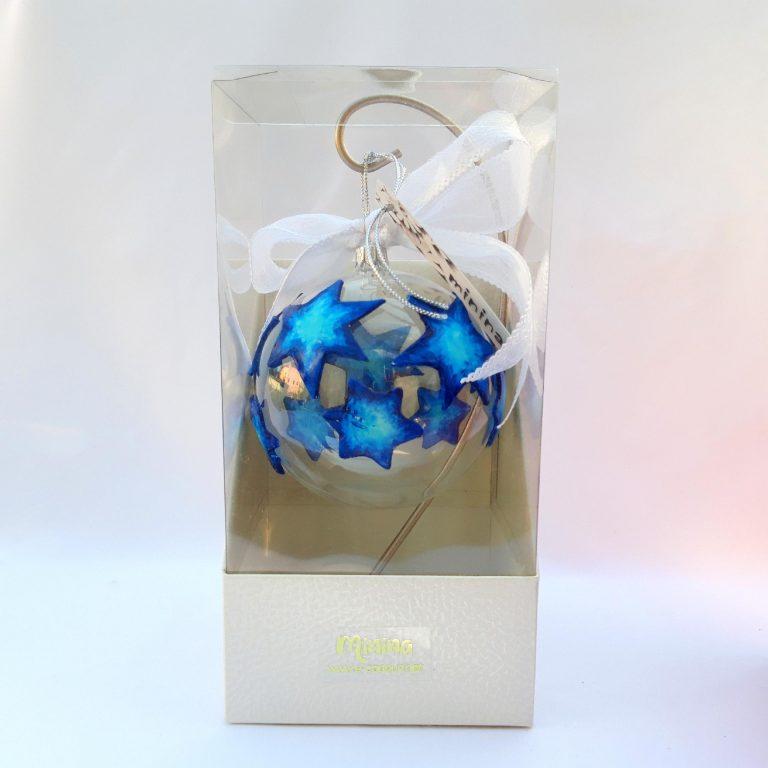 Glob sticlă steluțe albastre 10 cm