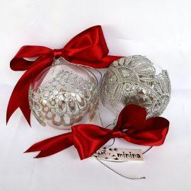 Globuri sticla dantelă argintie in cutie
