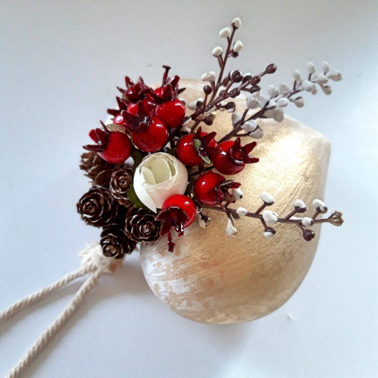 Ornament brad formă inimă 14 cm 2