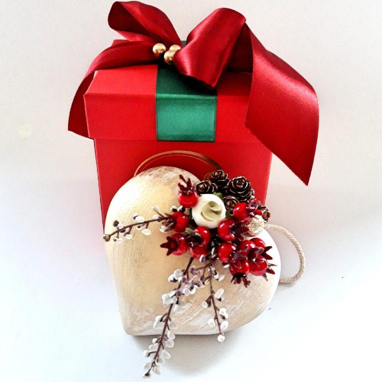 Ornament brad formă inimă 14 cm