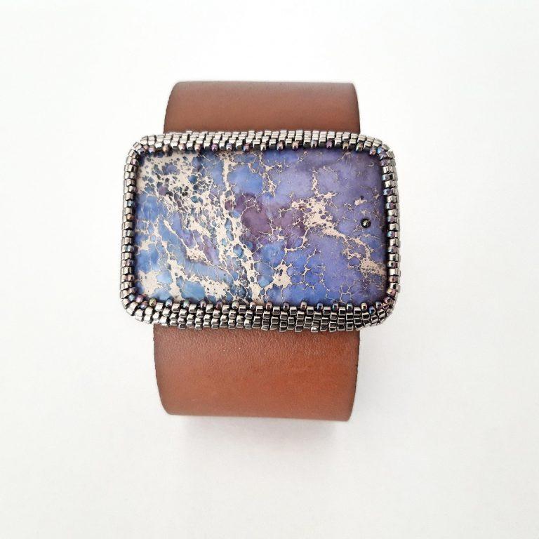 Brățară piele Blue Jasper Stone , 38 cm