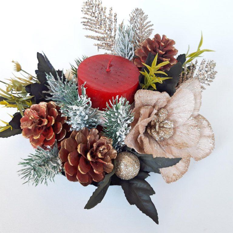 Aranjament festiv lumânare, 22 cm