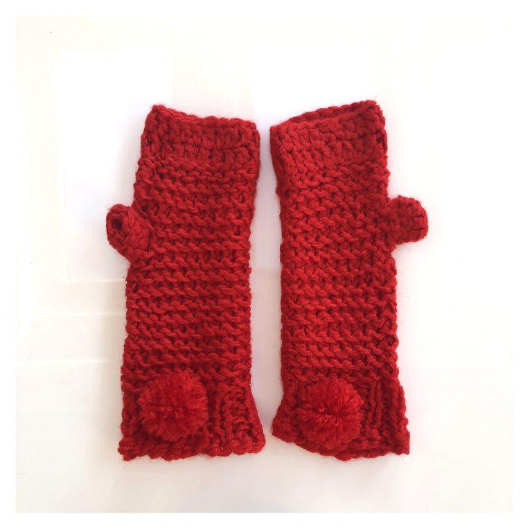 Mănuși roșii lungi cu deget
