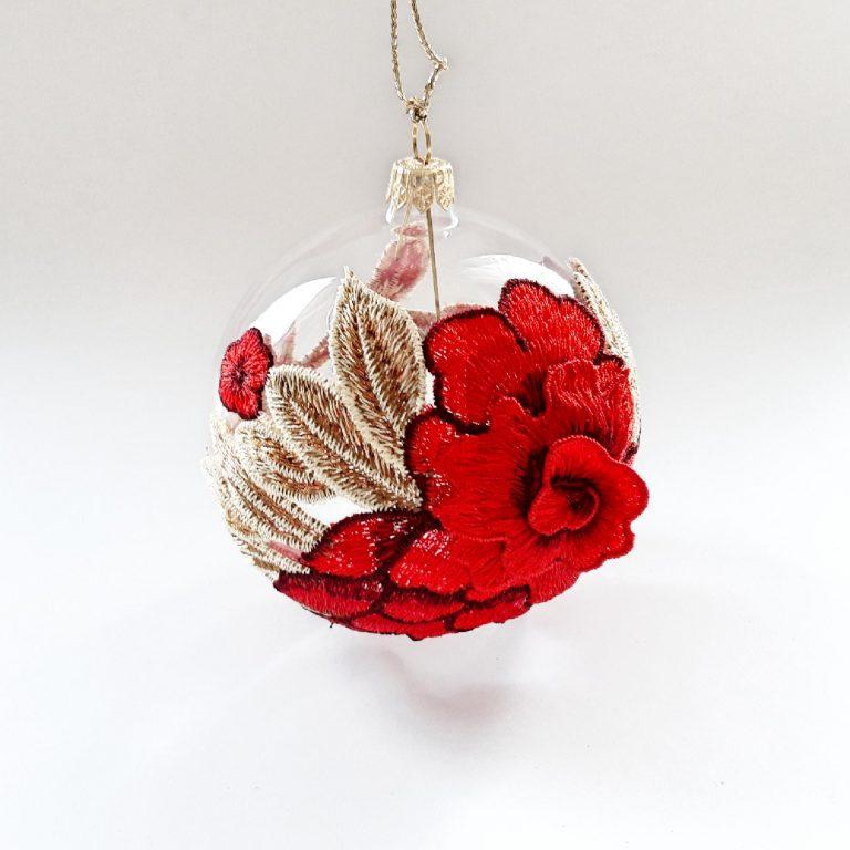 Glob sticlă 10 cm aplicație dantelă roșie