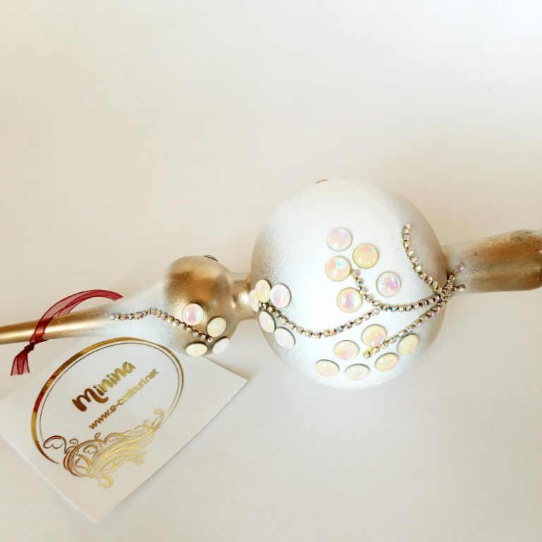 Vârf brad Crăciun auriu alb cu ştrasuri 10 cm