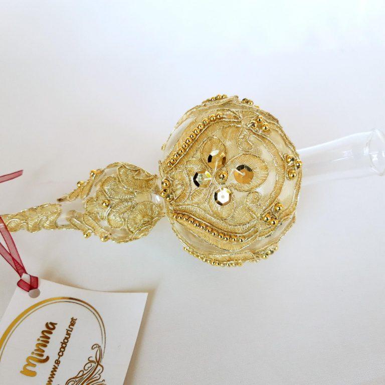 Vârf brad Crăciun dantelă aurie metalizată, 32cm detaliu