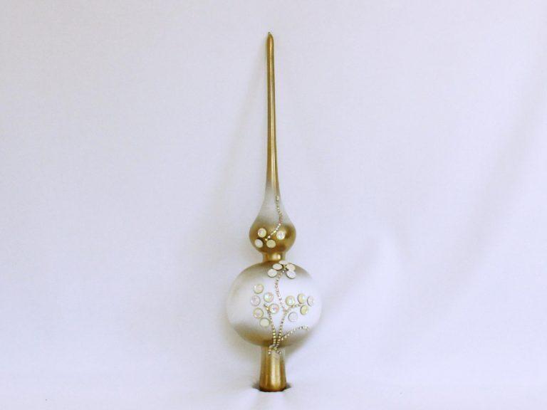 Vârf brad Crăciun auriu alb cu ştrasuri, 32cm