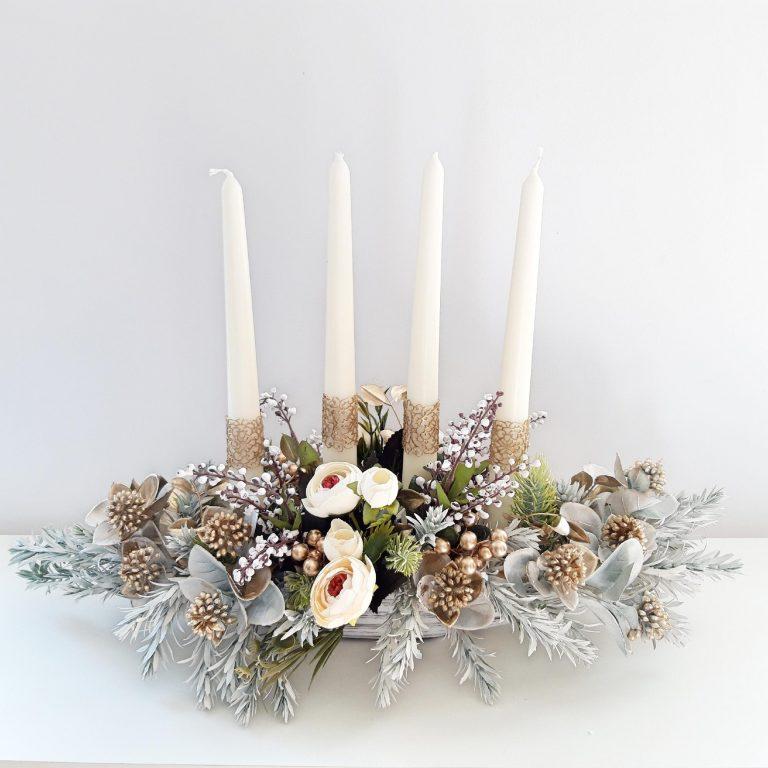 Decor masă festivă 4 lumânări