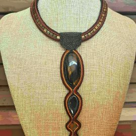 Colier soutache tiger eye