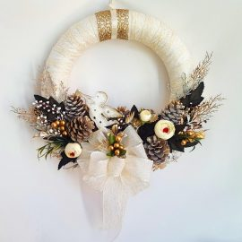 Coronita craciun alb auriu ingeras