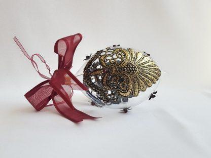 Glob craciun alungit cu dantela negru auriu