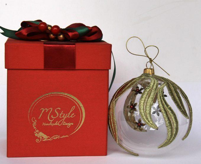 Decorațiuni Crăciun - glob sticlă auriu și roșu 10 cm 1