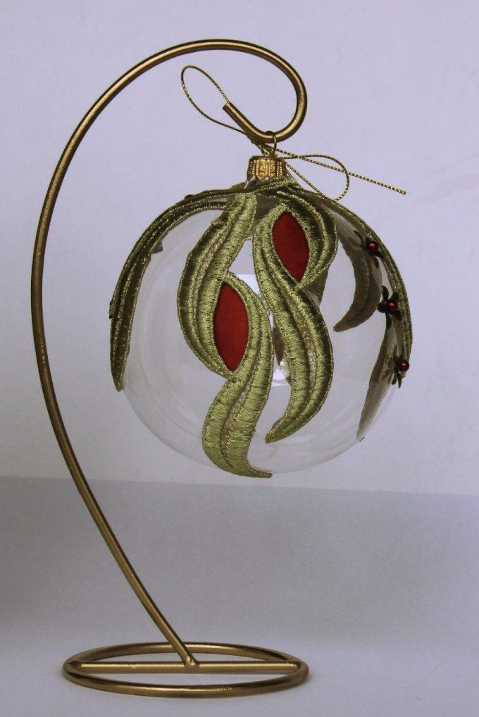 Decorațiuni Crăciun - glob sticlă auriu și roșu 10 cm 3