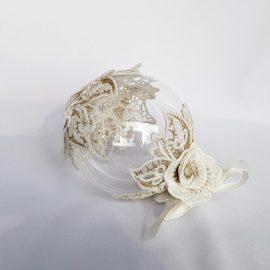 glob craciun dantela ivoire flori